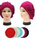 120 Units of Winter Heavy Knit Beret Assorted Colors - Winter Beanie Hats