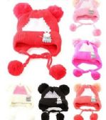 72 Units of Toddler Girls Boys Winter Hat Warm Knit Beanie With Ear Flaps And Pom Pom - Winter Beanie Hats