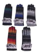72 Units of Women's Cotton Striped Winter Glove With Fur - Knitted Stretch Gloves