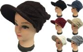 24 Units of Knitted Lady Hats with Bill Winter Hats Solid Colors - Fashion Winter Hats