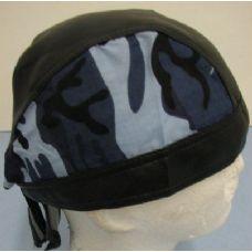 72 Units of Leather-Like Skull Cap-Blue Camo - Bandanas