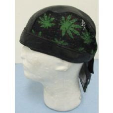72 Units of Leather-Like Skull Cap-Marijuana - Bandanas