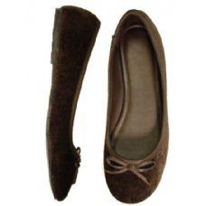 18 Units of Ladies' Velvet Ballerina *Brown Size: 5-10 - Women's Flats