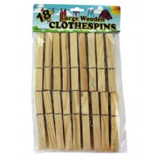72 Units of 18PK WOODEN CLOTHESPIN - Laundry Supplies