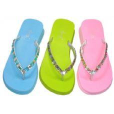 24 Units of Lady Rhinestones Thong Sandal Size: 5-10 - Women's Flip Flops