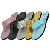 Wholesale 36 Units of Women's Sequin Flip Flops