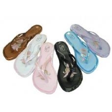 36 Units of Ladies' Sequin-Trimmed Thongs Size: 6-11 - Women's Flip Flops