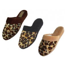 48 Units of Ladies' Velour Leopard Print Slippers - Womens Slippers