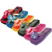 48 Units of Women's Square Floral Top Flip Flops - Women's Flip Flops