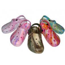 36 Units of Children's Tie-Dye Garden Clogs - Girls Slippers