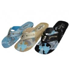 24 Units of Lady Printed Canvas Thong - Women's Flip Flops