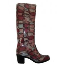 12 Units of Ladies Circle Pattern Rainboot with Heel - Womens Boots