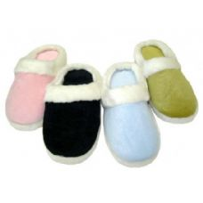 48 Units of Girl Solid Color Velour with Fur Cuff Colors: Black, Lt. Blue, Lt. Pink and Green - Girls Slippers