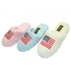 36 Units of Ladies' US Flag Chenille Slippers - Womens Slippers