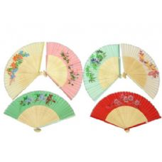 120 Units of 10 Assorted Floral Print Silk Fans Pairs per ctn: - Home Decor