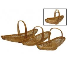 24 Units of Long Oval Bamboo Basket Set of 3 - Baskets