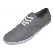 24 Units of Ladies' Chambray Lace Up 6-11 - Womens Sneakers