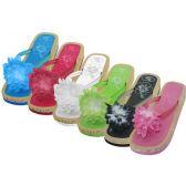 48 Units of Women's Silk Flower Top Slide Flip Flops - Women's Flip Flops