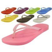 48 Units of Ladies' Stripe Strap Thong Flip Flops