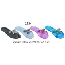 36 Units of Ladies Jelly Sandal With Stones