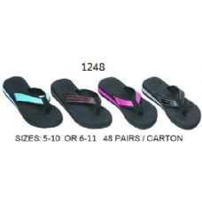 48 Units of Ladies Wedge Flip Flop With Color Band - Women's Flip Flops