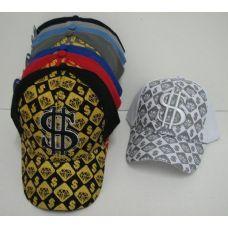 48 Units of Adjustable Glitter $ Ball Cap - Baseball Caps & Snap Backs