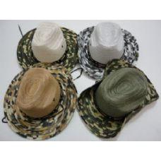 72 Units of Boonie Hat-Solid Mesh with Camo Brim - Cowboy & Boonie Hat