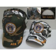 144 Units of Camo Air Force with Shadow Hat [Air Force on Bill] - Baseball Caps & Snap Backs
