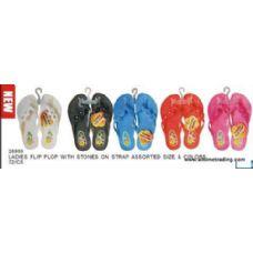 72 Units of Ladies Flip Flop With Stones - Women's Flip Flops