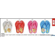 72 Units of Ladies Basic Flip Flop With Stones