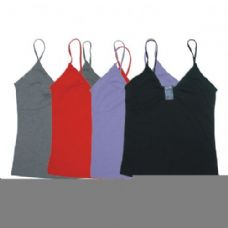 96 Units of WOMENS TANK TOP W/SQUARE GLITTER FRONT ASTD COLORS AND SIZES - Womens Camisoles / Tank Tops