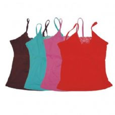 96 Units of WOMENS TANK TOP W/FLOWER NECK AND CHEST ASTD COLORS AND SIZE - Womens Camisoles / Tank Tops
