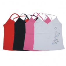 96 Units of WOMENS TANK TOP W/FLOWER AND GLITTER ASTD COLORS AND SIZES - Womens Camisoles / Tank Tops
