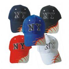 144 Units of NY Leather Baseball Cap Adult - Baseball Caps & Snap Backs