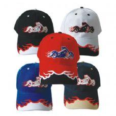 144 Units of MOTORCYCLE BASEBALL CAP ASSORTED COLORS - Baseball Caps & Snap Backs