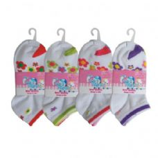 48 Units of 3 PAIR GIRLS FLOWER ANKLE SOCKS SIZE 4-6 ASSORTED COLORS - Girls Crew Socks