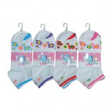 48 Units of 3 PAIR GIRLS FLOWER ANKLE SOCKS SIZE 6-8 ASSORTED COLORS - Girls Crew Socks