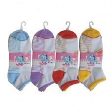 48 Units of 3 PAIR GIRLS STRIPE W/GLITTER ANKLE SOCKS SIZE 9-11 ASSORTED COLORS - Girls Crew Socks