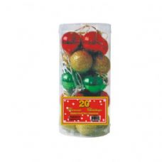 72 Units of 20 PC XMAS BALLS MULTI COLORS - Christmas Ornament
