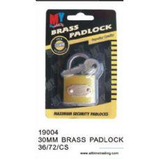 72 Units of 30MM BRASS PADLOCK - Padlocks/Combination Locks/Brass/Iron