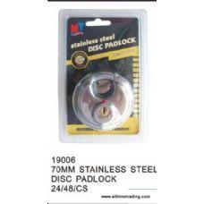 48 Units of 70MM STAINLESS STEEL DISC PADLOCK - Padlocks/Combination Locks/Brass/Iron