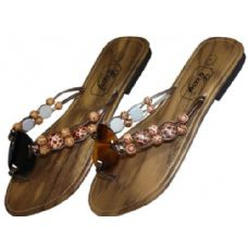 Wholesale 36 Units of Womans Wood Flip Flop With Beads