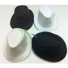 24 Units of Fedora Hat-Solid Colors - Fedoras, Driver Caps & Visor
