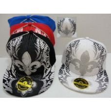 72 Units of Fitted Hat--Glitter Fleur De Lis - Baseball Caps & Snap Backs