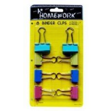 96 Units of Binder Clips - 8pk - 1.25-2pcs+1-6pcs-Carded - Clips and Fasteners