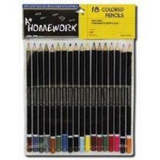 48 Units of Colored Pencils - 18 pk - Black Barrel - Asst. Cls. - Pencils