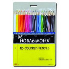 96 Units of Colored Pencils - 18 pk - Hang Card - Asst. Cls. - Pencils