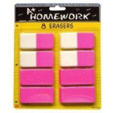 48 Units of Erasers - Pink - Beveled - 2.5 - 8 pack - Erasers
