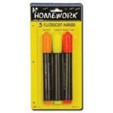 48 Units of Fluorescent Markers - 3 pk - Asst. Neon Colors - Markers and Highlighters