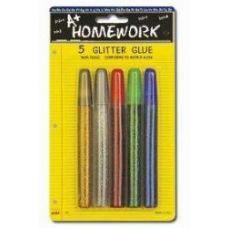 48 Units of Glitter Glue Pens -Asst. Colors .50 oz each - 5 pack - Glue Office and School
